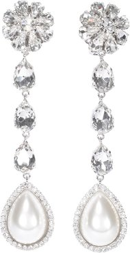 Long Earrings With Pearls And Crystals
