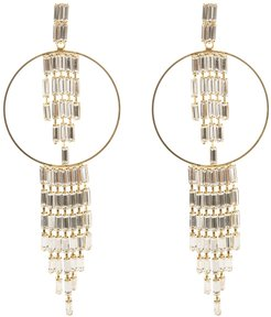 Circle Earrings With Pendants Of Gradient Crystals