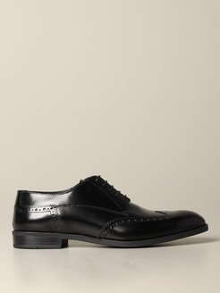 Brogue Shoes Emporio Armani Derby In Brushed Leather With Brogue Motif