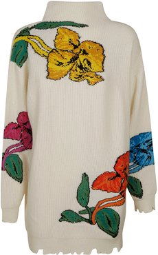 High-neck Floral Embroidered Sweater