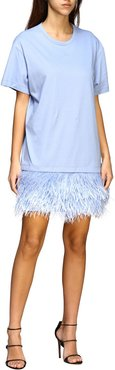 N° 21 Dress N ° 21 Short Dress In Cotton Jersey With Feather Bottom