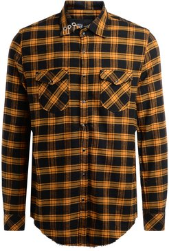 Shirt In Black And Ocher Yellow Check Pattern