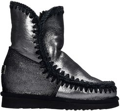 Eskimo Inner Ankel Boots Inside Wedge In Black Leather
