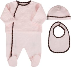 Pink Set With Double Ff For Baby Girl