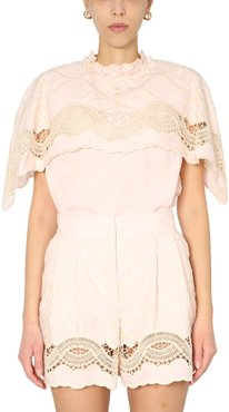 Embroidered Cape Top