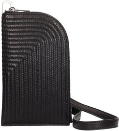 Neck Wallet In Black Leather