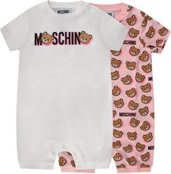 White And Pink Babygirl Set With Teddy Bear And Logo