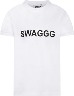 White T-shirt For Boy With Black Writing