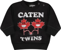 Black Sweatshirt For Baby Boy With Maple Leaves