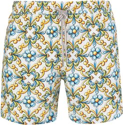 Swimsuit With Yellow And Light Blue Majolica Print
