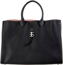Black Large Tote Bag With Studs And Logo