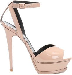 Tribute Lips Sandals In Nude Patent Leather