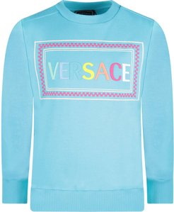 Light Blue Sweatshirt With Colorful Logo For Girl