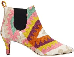 High Heels Ankle Boots In Multicolor Wool