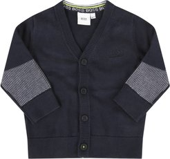 Blue Cardigan For Baby Boy With Logo