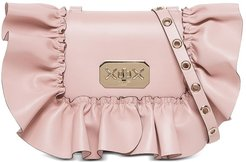Rock Ruffles Pink Leather Crossbody Bag