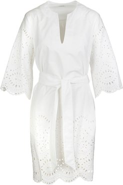White Midi Dress With Broderie Anglaise And Wide Sleeves