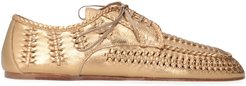 Metallic Leather Lace-up Shoes