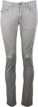 5-pocket Trousers In Stretch Textured Cotton With Zip With Slim Fit