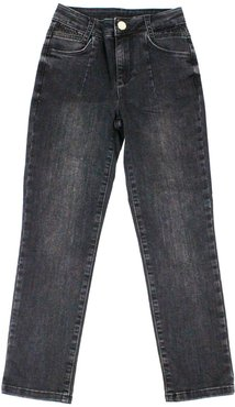 Black 5-pocket Jeans With Rhinestone Applications On The Waist