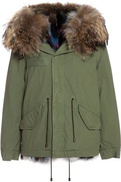 Exclusive Fw20 Icon Parka: Army Cotton Canvas Mini Parka With Patch Fox Fur Lining