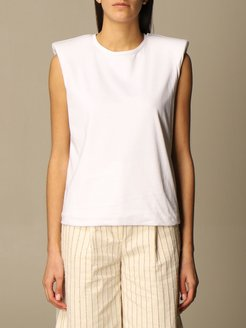 Top Federica Tosi Basic T-shirt With Padded Shoulder Straps
