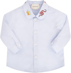 Light Blue Shirt For Babykids With Colorful Patch