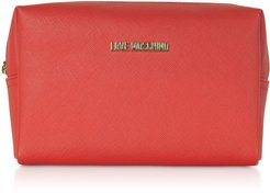 Red Saffiano Eco-leather Cosmetic Case