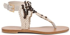 Braided Sandals With Beads Detail