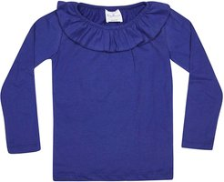 Ruffle Collar Long Sleeve T-shirt