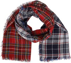 Checked Frayed Scarf