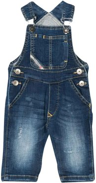 Denim Overalls With Rear Logo Plate