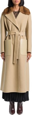 Cashmere Double Coat With Mink Fur Collar