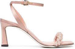 Pink Satin Sandals With Braided Band