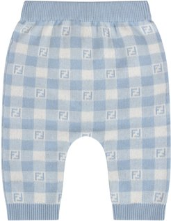 Light Blue And Ivory Pant With Double Ff For Baby Boy