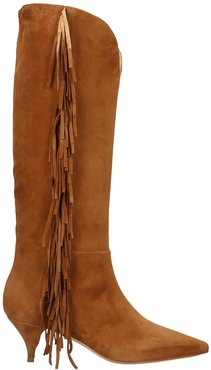 Low Heels Boots In Leather Color Suede