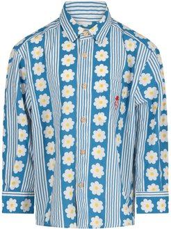 Light Blue And White Shirt For Girl With Flowers