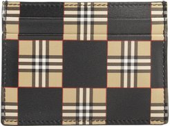 Sandon Chequer Print Leather Card Case