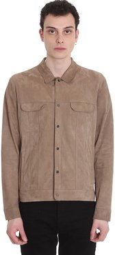Leather Jacket In Beige Leather