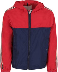 Red And Blue Boy Windbreaker With Logo