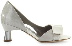 Bardot Grey White Open Toe Pump