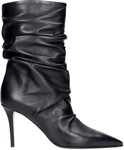 Eva 90 High Heels Ankle Boots In Black Leather