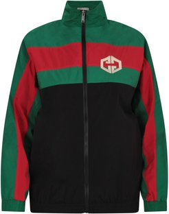 Green, Red And Black Kids Windbreaker With Double Gg