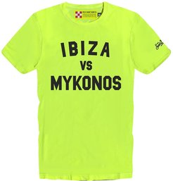 Ibiza Vs Mykonos Yellow Fluo Mans T-shirt