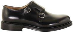 Lambourn Shoe In Black Polished Binder Leather With Double Buckle
