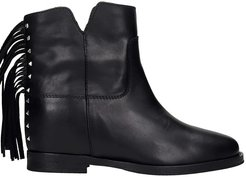 Ankel Boots Inside Wedge In Black Leather