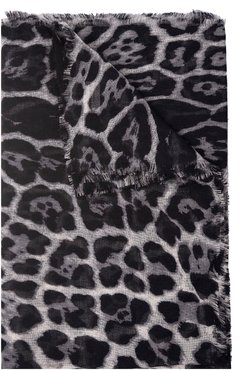 Woman Large Square Leopard Scarf In Gray And Black Cashmere Etamine