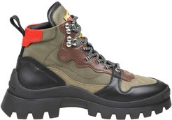 Trekking Boot Military Green Black And Red Color
