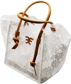 Shoppin Lace Bag With Leather Handles And Internal Clutch Bag Measures 32 X 20 X 25