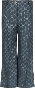 Light Blue Pants With Silver Double Gg For Girl